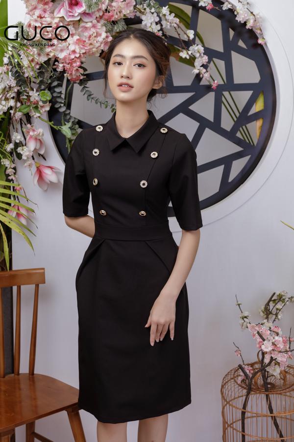 Đầm công sở cổ sơ mi phối nút 1812 màu đen