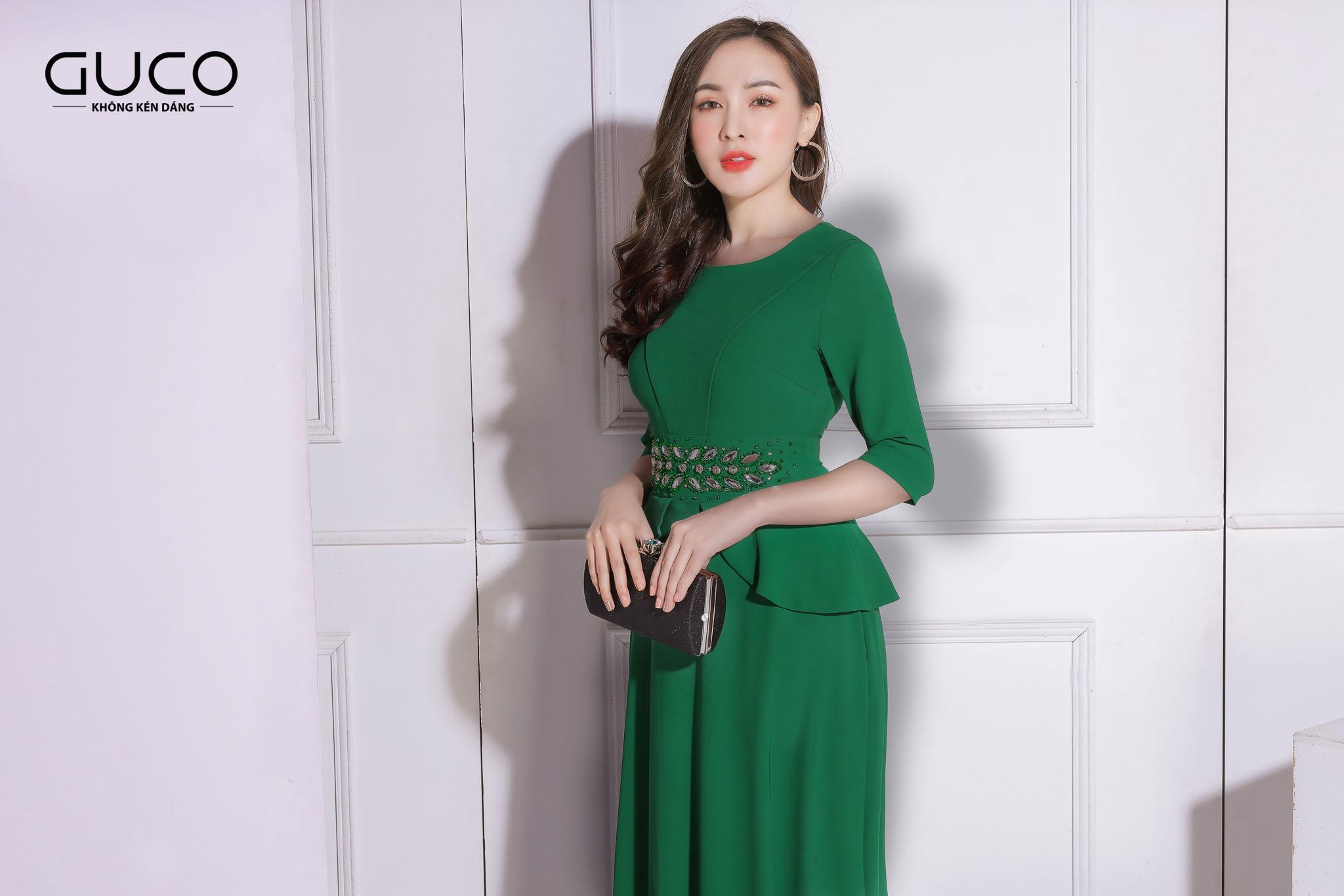 Đầm dạ hội kết cườm 1921 màu xanh lá