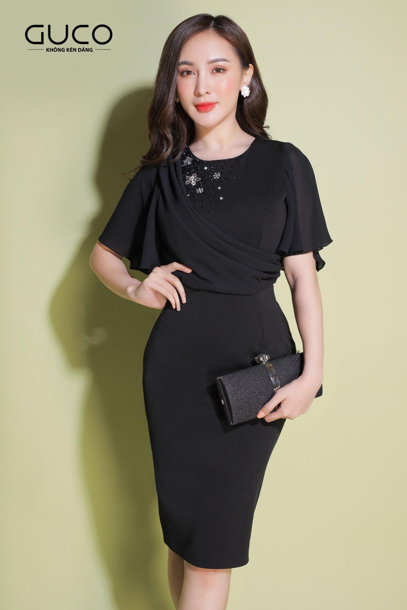 Đầm ôm body dự tiệc tay loe kết cườm 1930 màu đen