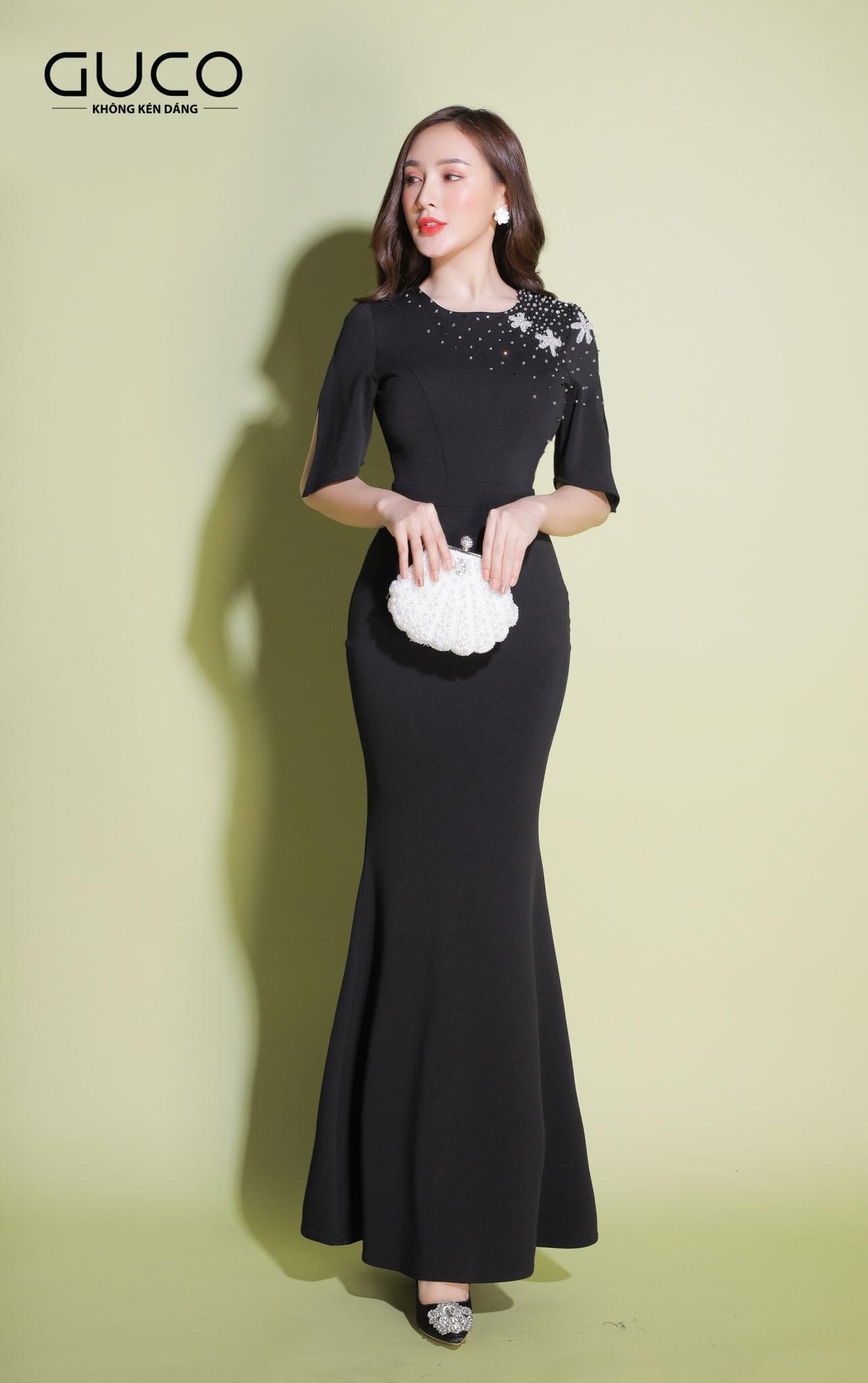 Đầm dạ hội màu đen 1931 đuôi cá có kết cườm