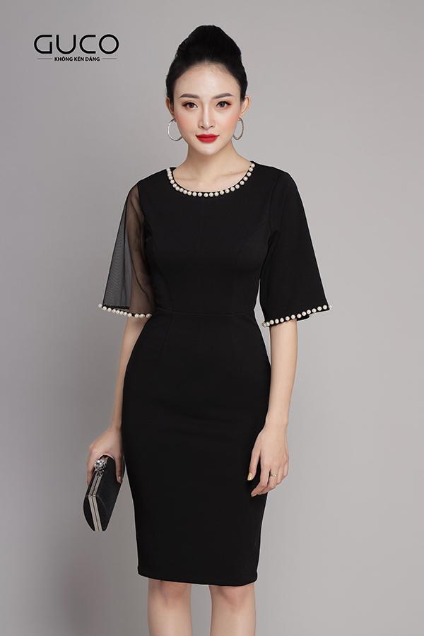 Đầm ôm body dự tiệc màu đen 1937 đính ngọc trai
