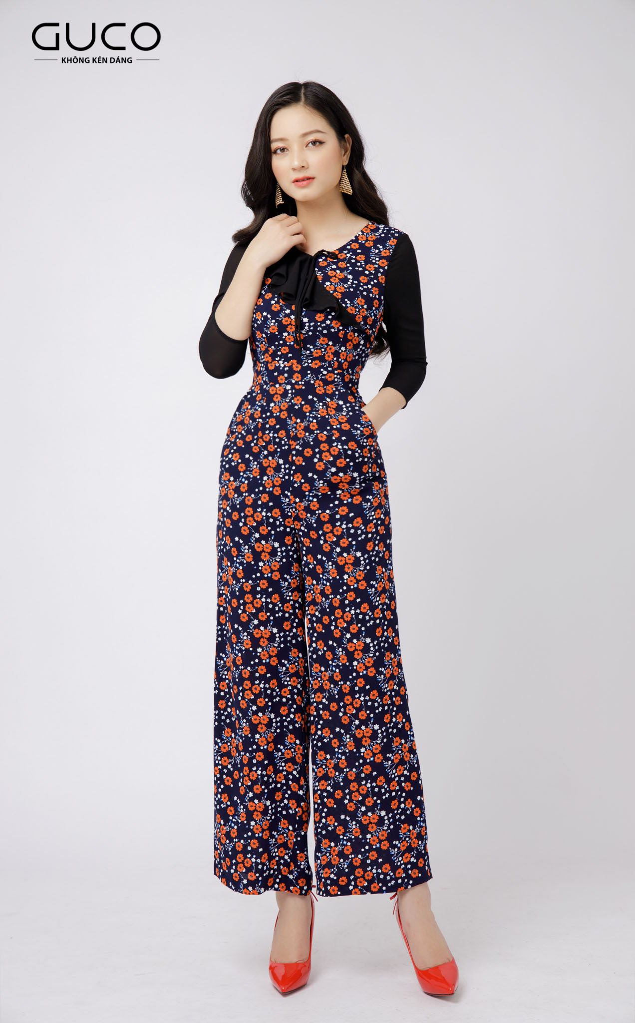 Jumpsuit ống suông in hoa nhí 2131