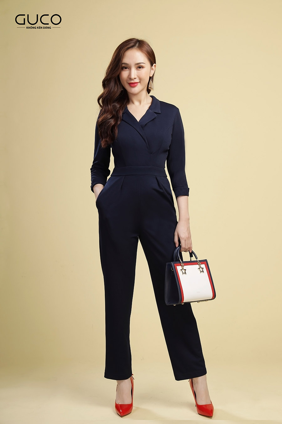 Jumpsuit cổ vest thanh lịch 2136